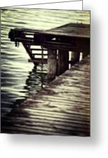 Old Wooden Pier With Stairs Into The Lake Greeting Card