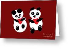 2 Pandas In Love Greeting Card