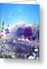 pink Flamingoes Greeting Card