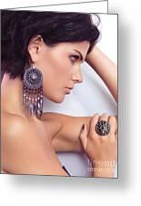 Portrait Of A Beautiful Woman Wearing Jewellery Greeting Card