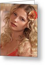 Portrait Of A Beautiful Young Woman Greeting Card