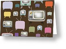 retro TV pattern  Greeting Card