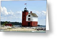 Round Island Lighthouse Greeting Card