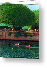 Scullers At Coal Harbour Greeting Card by Neil Woodward