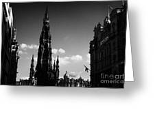 Sir Walter Scott Monument Princes Street Edinburgh Scotland Uk United Kingdom Greeting Card