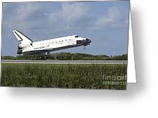 Space Shuttle Discovery Lands On Runway Greeting Card