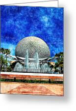 Spaceship Earth And Fountain Of Nations Greeting Card