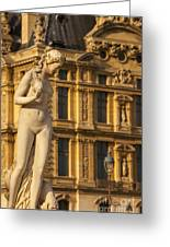 Statue Below Musee Du Louvre Greeting Card