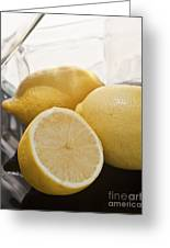 Still Life Of Bottles  And Lemons Greeting Card