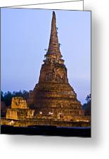 Stupa Chedi Of A Wat In Ayutthaya Thailand Greeting Card