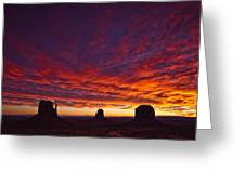 Sunrise Over Monument Valley, Arizona Greeting Card