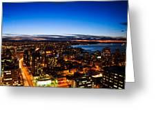 Sunset Over A City Nice Illuminated Greeting Card