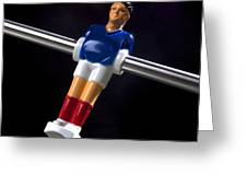 Tabletop Soccer Figurine Greeting Card by Bernard Jaubert