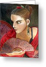 The Flamenco Dancer Greeting Card by Pilar  Martinez-Byrne