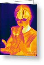Thermogram Of A Girl And Cat Greeting Card