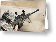 U.s. Army Soldier Fires A Barrett M82a1 Greeting Card