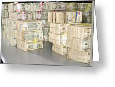 Us Bills In Bundles Greeting Card