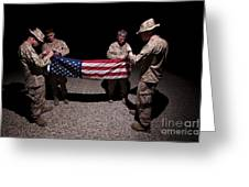 U.s. Marines Fold The American Flag Greeting Card