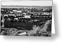 View Of Edinburgh New Town Skyline Towards The Docks At Leith And Firth Of Forth From Calton Hill Ed Greeting Card