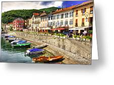 Village On The Lake Front Greeting Card