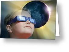 Watching Solar Eclipse Greeting Card by Detlev Van Ravenswaay