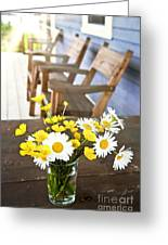 Wildflowers Bouquet At Cottage Greeting Card