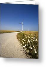 Wind Turbine, Humberside, England Greeting Card by John Short