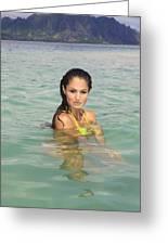 Woman At Kaneohe Sandbar Greeting Card