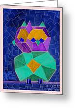 2010 Cubist Owl Negative Greeting Card by Lilibeth Andre