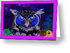 2011 Dreamy Horned Owl Negative Greeting Card by Lilibeth Andre