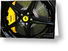 2012 Ferrari 458 Spider Brake Pad Yellow Greeting Card