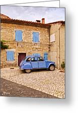 2cv Dans Le Bleu Francais St Remy De Provence Greeting Card