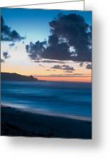 A Beach During Sunset With Glowing Sky Greeting Card
