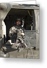 A Uh-60 Black Hawk Door Gunner Manning Greeting Card