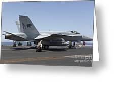 An Fa-18c Hornet During Flight Greeting Card