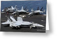 An Fa-18e Super Hornet During Flight Greeting Card