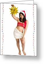 Asian Woman With Santa Hat  Greeting Card