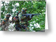 Belgian Paratroopers Proceeding Greeting Card