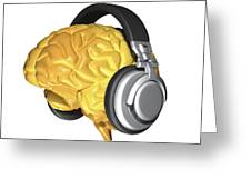 Brain With Headphones, Artwork Greeting Card