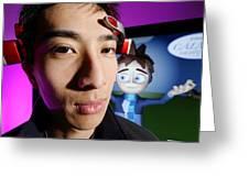 Brainwave-reading Headset Greeting Card by Volker Steger