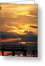 Destroyed  Pier Sea Sunset Greeting Card