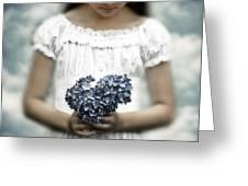 Girl With Hydrangea Greeting Card