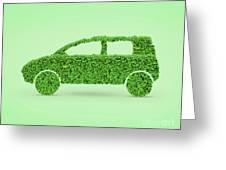 Green Car Greeting Card