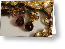 3 Hanging Semi-precious Stones Attached To A Green And Gold Necklace Greeting Card