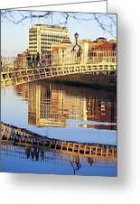 Hapenny Bridge, River Liffey, Dublin Greeting Card