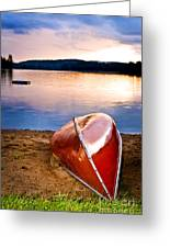 Lake Sunset With Canoe On Beach Greeting Card