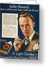 Lucky Strike Cigarette Ad Greeting Card by Granger