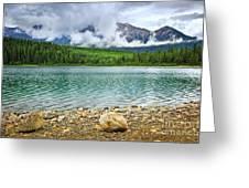 Mountain Lake In Jasper National Park Greeting Card