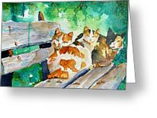 3 On A Bench Greeting Card