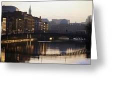 River Liffey, Dublin, Co Dublin, Ireland Greeting Card